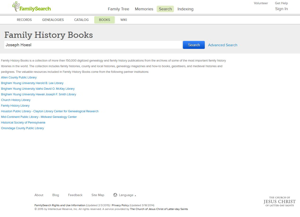 Use Family History Books for your family genealogy free search.