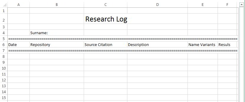 This is an example of genealogy research logs.
